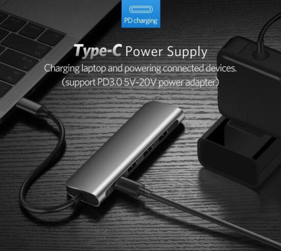 USB-C Hub USB-C opladen
