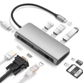 USB-C Hub van Levin met 9 poorten waaronder HDMI en VGA