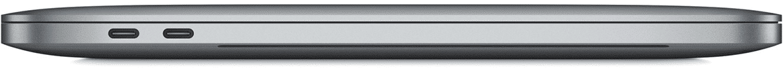 Zijaanzicht van de Apple MacBook Pro met twee Thunderbolt 3 (USB-C) poorten