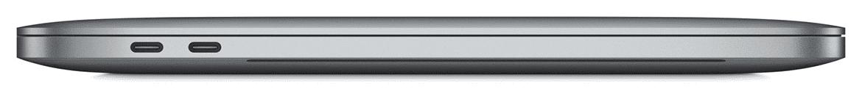 MacBook Pro zijaanzicht met de twee Thunderbolt 3 (USB-C) poorten zichtbaar