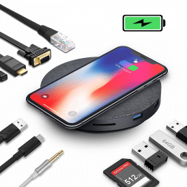 usb-c hub 11 in 1 with wireless charging van Levin