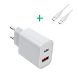 20W USB-C + USB-A oplader bundel