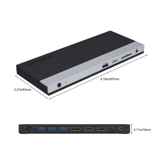 wl-umd05 USB-C docking station triple video 3